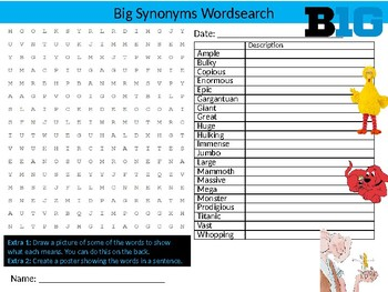 Big Synonyms Wordsearch Sheet Starter Activity English Vocabulary