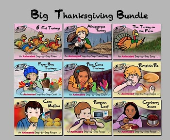 Big Thanksgiving Bundle - Animated Step-by-Step Recipes/Crafts/Poems/Songs