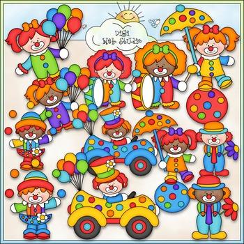 Big Top Circus Clowns Clip Art - Circus Clip Art - CU Clip Art & B&W