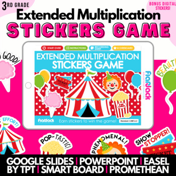 Big Top Circus Extended Multiplication SMART BOARD Game - Common Core Aligned