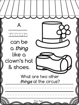 Big Top Circus Nouns for Young Learners