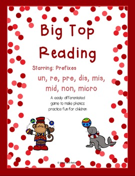 Big Top Reading Starring prefixes un re pre dis mis non micro mid non