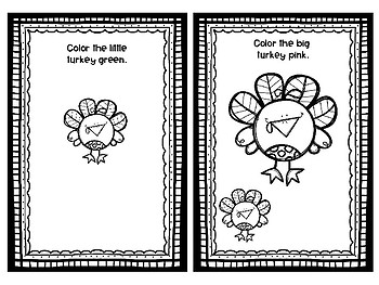 Big Turkey, Little Turkey Concept Book for Speech Therapy