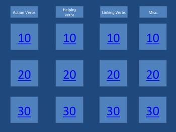 Verbs Unit - Parts of Speech Unit (Verb PowerPoint, handouts, review game)
