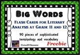 Big Words for Literary Analysis at Grade 11 and 12