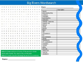 Big World Rivers Wordsearch Puzzle Sheet Keywords Homework Geography Water