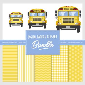 Big Yellow School Bus Clip Art and Digital Paper Combo