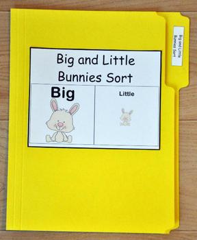 """File Folder Game--""""Big and Little Easter Bunnies Sort"""""""