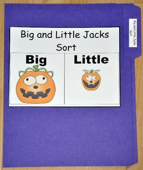 File Folder Game: Big and Little Jack-O'Lanterns Sort