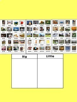 Sight Word Sorting: Big-Little 2