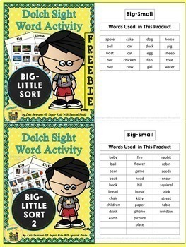 Sight Word Sorting: Big-Little BUNDLE