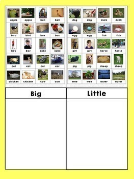 Sight Word Sorting: Big-Little 1 FREEBIE