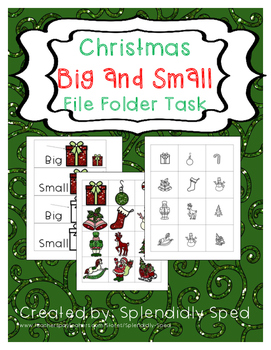 Big and Small File Folder Task--Christmas Themed