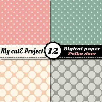 """Big and Small polka dots - DIGITAL PAPER - Scrapbooking- A4 & 12x12"""""""