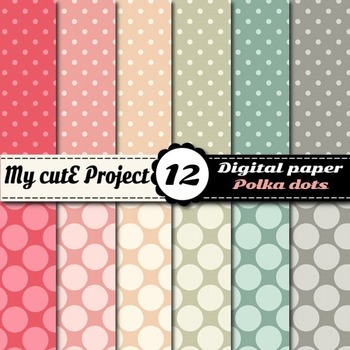 Big and Small polka dots - DIGITAL PAPER - Scrapbooking- A4 & 12x12""
