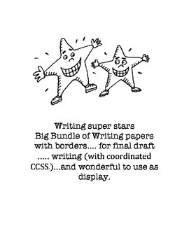 Big bundle of writing papers with thematic and seasonal borders
