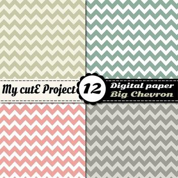 Big chevron Digital paper - Pastel colors Digital paper - Scrapbooking chevron