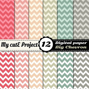 Big chevron Digital paper - Pastel colors Digital paper -