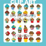 Clip art: cupcakes for boys