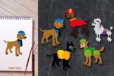 Big dog squad clipart - Doggies in costumes