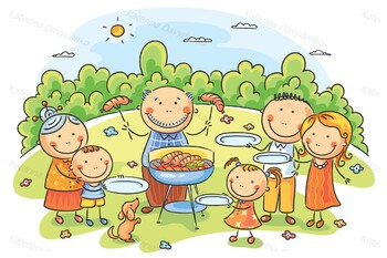 Big family having picnic outdoors
