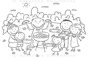 Big family having picnic outdoors