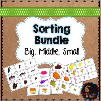 Big, middle, small themed math sorting bundle