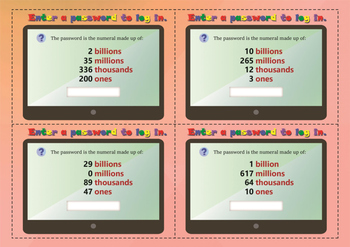 Big numbers. Place value cards