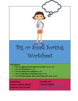 Big or Small: Kindergarten Common Core Sorting Activity