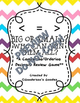 Big or Small? Who Can Win Them All? A Comparing and Ordering Decimals Game