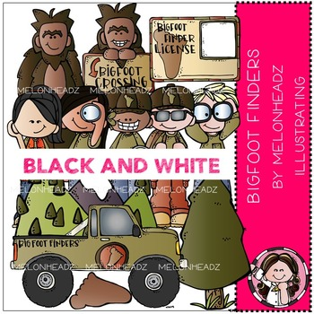 Bigfoot Finders clip art - BLACK AND WHITE- by Melonheadz