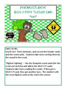 Bigfoot Sighting Phonics Box - oo
