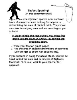 Bigfoot Spotting: An Area and Perimeter Performance Task