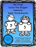 Bigger Number Coloring Worksheets