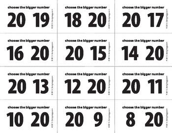 Bigger Number Flash Cards (0-20) - BW