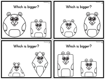 Bigger or Smaller Task Cards Groundhog Theme