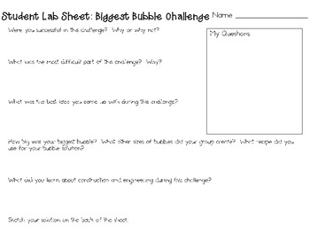 Biggest Bubble: Engineering Challenge Project ~ Great STEM Activity!