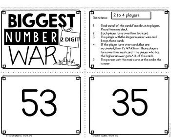 Biggest Number 2 Digit War Math Game
