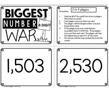 Biggest Number 4 Digit War Math Game