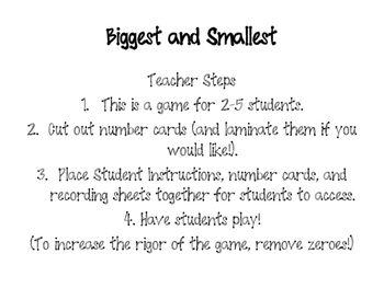 Biggest and Smallest- A Place Value Game