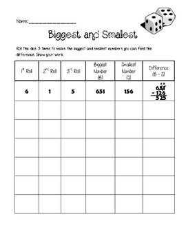 Biggest and Smallest Digit Subtraction with Regrouping Game
