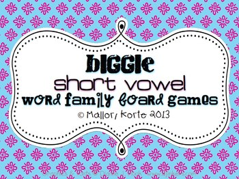 Biggie Short Vowel Word Family Board Games