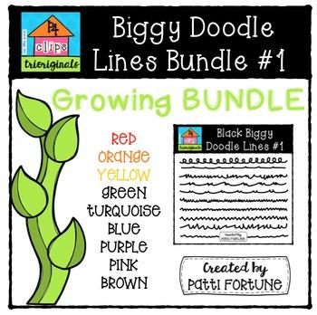 Biggy Doodle Lines Growing Bundle #1 {P4 Clips Trioriginals Digital Clipart}