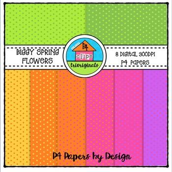 Biggy Flowers Little Dots P4 Paper {P4 Clips Trioriginals Digital Clip Art}