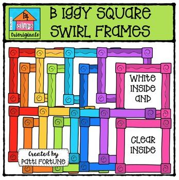 Biggy Square Swirl Frames {P4 Clips Trioriginals Digital Clipart}
