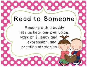 Bright polka dot Daily 5 classroom posters