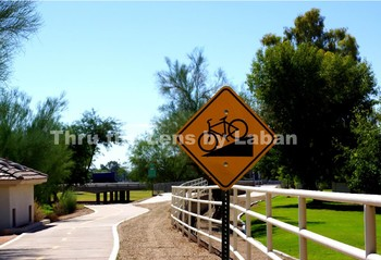 Bike Path at Park and Downhill Sign Stock Photo #70