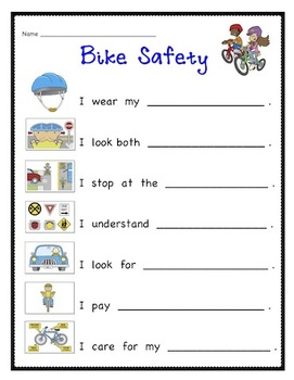bike safety write the room and or writing activity by krafty kim. Black Bedroom Furniture Sets. Home Design Ideas
