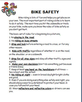Bike Safety- lesson, 4 activities, large color images of safety rules