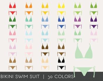 Bikini Swim Suit Digital Clipart, Bikini Swim Suit Graphics